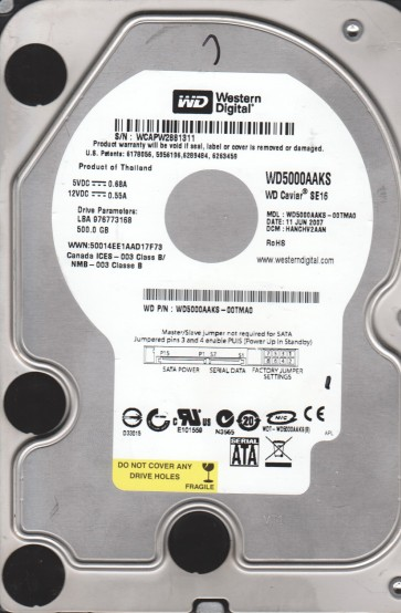 WD5000AAKS-00TMA0, DCM HANCHV2AAN, Western Digital 500GB SATA 3.5 Hard Drive