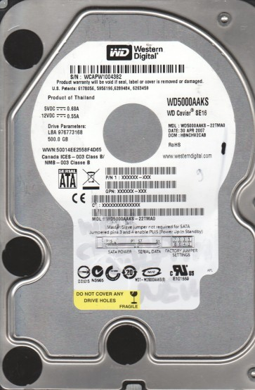 WD5000AAKS-22TMA0, DCM HBNCHV2CAB, Western Digital 500GB SATA 3.5 Hard Drive