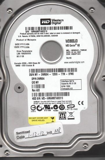 WD800JD-75MSA3, DCM HSBAYTJEH, Western Digital 80GB SATA 3.5 Hard Drive