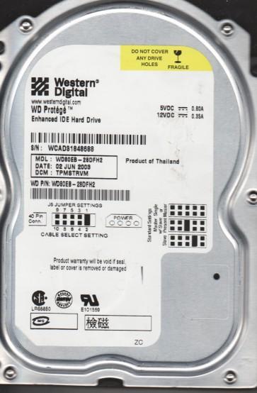 WD80EB-28DFH2, DCM TPMSTRVM, Western Digital 8GB IDE 3.5 Hard Drive