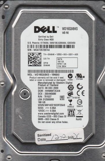 WD1602ABKS-18N8A0, DCM HHNNNT2CAN, Western Digital 160GB SATA 3.5 Hard Drive