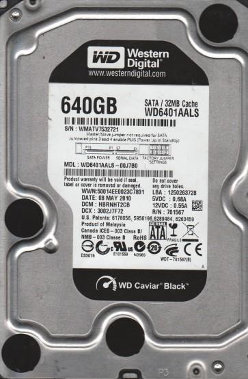 WD6401AALS-00J7B0, DCM HBRNHT2CB, Western Digital 640GB SATA 3.5 Hard Drive