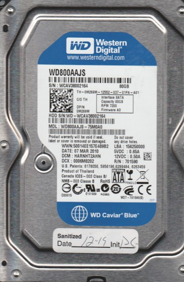 WD800AAJS-75M0A0, DCM HARNHT2AHN, Western Digital 80GB SATA 3.5 Hard Drive
