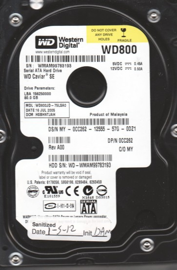 WD800JD-75LSA0, DCM HSBHNTJAH, Western Digital 80GB SATA 3.5 Hard Drive