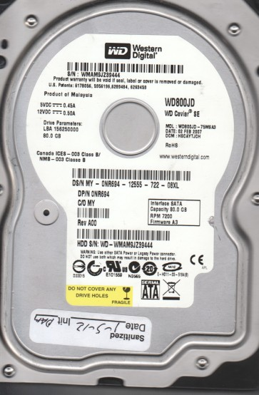 WD800JD-75MSA3, DCM HSCAYTJCH, Western Digital 80GB SATA 3.5 Hard Drive