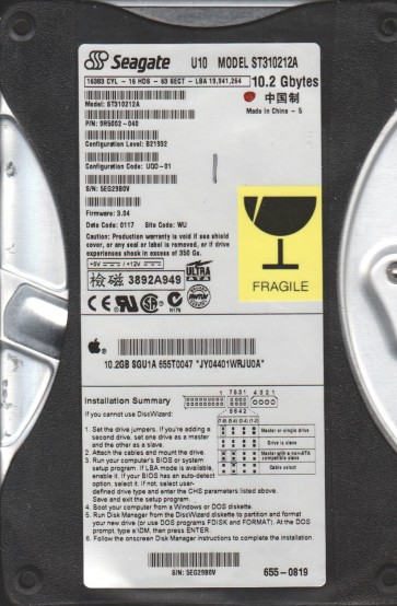 ST310212A, 5EG, WU, PN 9R5002-040, FW 3.04, Seagate 10.2GB IDE 3.5 Hard Drive