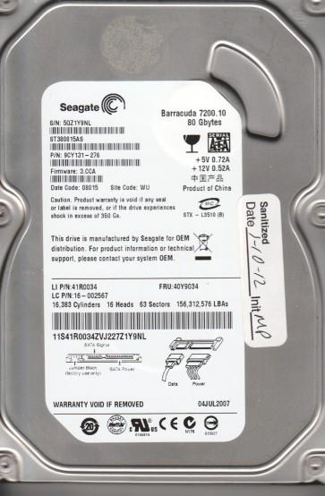 ST380815AS, 5QZ, WU, PN 9CY131-276, FW 3.CCA, Seagate 80GB SATA 3.5 Hard Drive