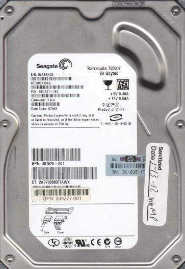 ST3808110AS, 5LR, WU, PN 9BD131-783, FW 3.AJJ, Seagate 80GB SATA 3.5 Hard Drive