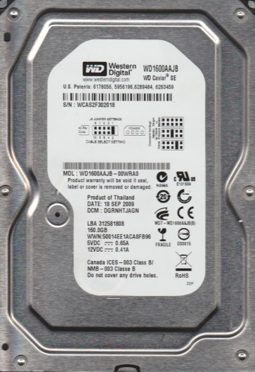 WD1600AAJB-00WRA0, DCM DRGHNTJAGN, Western Digital 160GB IDE 3.5 Hard Drive