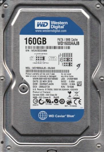 WD1600AAJB-00J3A0, DCM DRGNHTJAEN, Western Digital 160GB IDE 3.5 Hard Drive