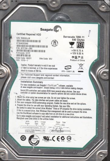 ST3640323AS, 5VK, WU, PN 9FZ134-300, FW CC1F, Seagate 640GB SATA 3.5 Hard Drive