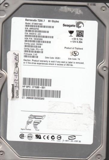 ST380013AS, 4MR, TK, PN 9W2812-231, FW 3.43, Seagate 80GB SATA 3.5 Hard Drive