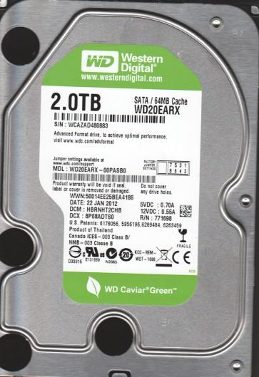 WD20EARX-00PASB0, DCM HBRNHT2CHB, Western Digital 2TB SATA 3.5 Hard Drive