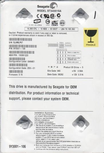 ST340015A, 5LA, WU, PN 9Y3001-106, FW 3.15, Seagate 40GB IDE 3.5 Hard Drive