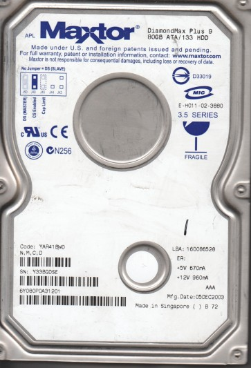 6Y080P0, Maxtor 80GB Code YAR41BW0 [NMCD] IDE 3.5 Hard Drive