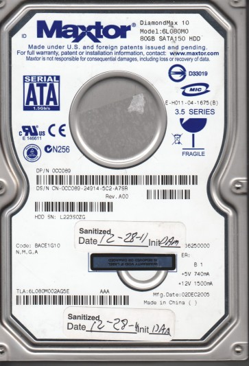 6L080M0, Maxtor 80GB Code BACE1G10 [NMGA] SATA 3.5 Hard Drive