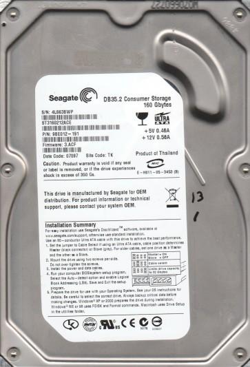 ST3160212ACE, 4LS, TK, PN 9BE012-191, FW 3.ACF, Seagate 160GB IDE 3.5 Hard Drive