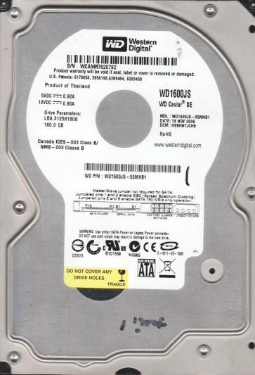 WD1600JS-55MHB1, DCM HSBHNTJCHB, Western Digital 160GB SATA 3.5 Hard Drive