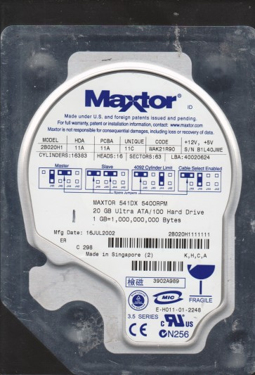2B020H1, Code WAK21R90, KHCA, Maxtor 20GB IDE 3.5 Hard Drive