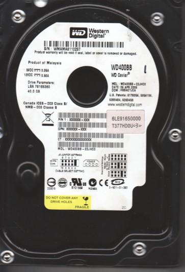 WD400BB-22JHC0, DCM HSBACTJCA, Western Digital 40GB IDE 3.5 Hard Drive