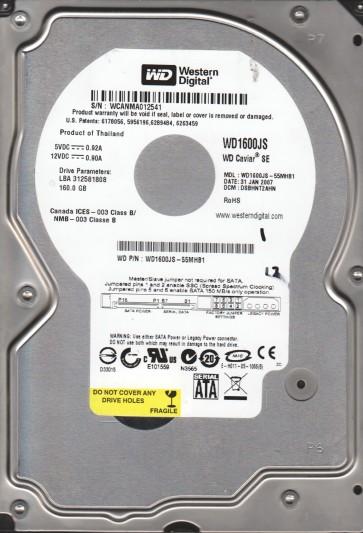 WD1600JS-55MHB1, DCM DSBHNT2AHN, Western Digital 160GB SATA 3.5 Hard Drive