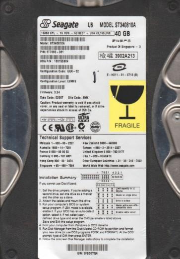 ST340810A, 3FB, AMK, PN 9T7002-301, FW 3.34, Seagate 40GB IDE 3.5 Hard Drive