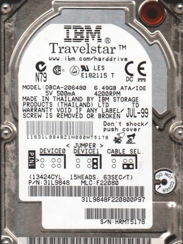 DBCA-206480, PN 31L9848, MLC F22080, IBM 6.5GB IDE 2.5 Hard Drive