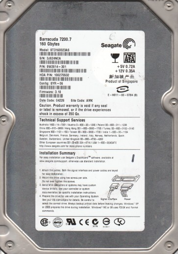 ST3160023AS, 3JS, AMK, PN 9W2814-301, FW 3.18, Seagate 160GB SATA 3.5 Hard Drive