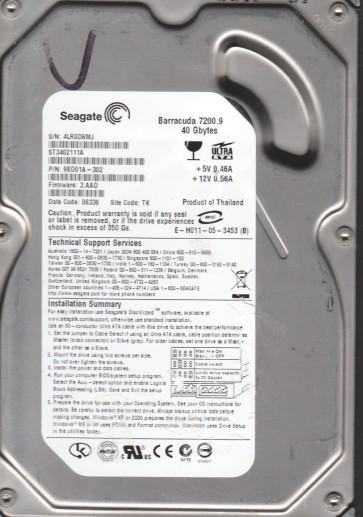 ST3402111A, 4LR, TK, PN 9BD01A-302, FW 3.AAD, Seagate 40GB IDE 3.5 Hard Drive