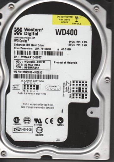 WD400BB-00GFA0, DCM HSBHNA2AH, Western Digital 40GB IDE 3.5 Hard Drive
