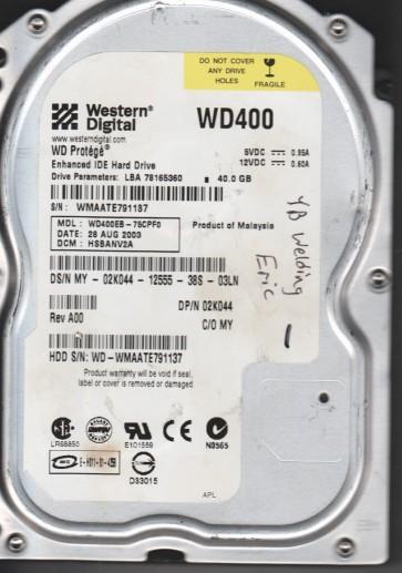 WD400EB-75CPF0, DCM HSBANV2A, Western Digital 40GB IDE 3.5 Hard Drive