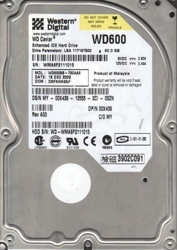 WD600BB-75CAA0, DCM DSFANA2AA, Western Digital 60GB IDE 3.5 Hard Drive