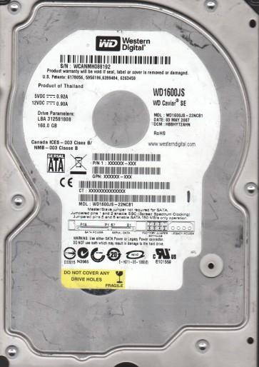 WD1600JS-22NCB1, DCM HBBHYT2AHN, Western Digital 160GB SATA 3.5 Hard Drive