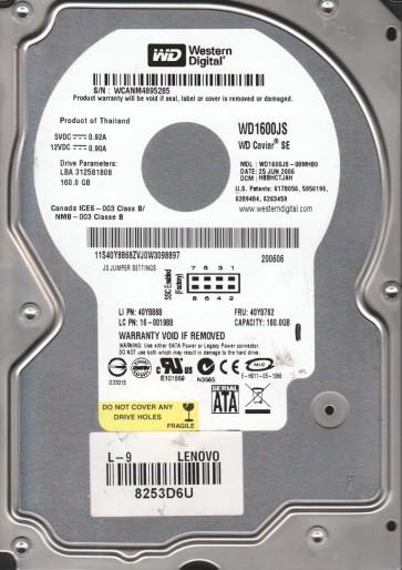 WD1600JS-08MHB0, DCM HBBHCTJAH, Western Digital 160GB SATA 3.5 Hard Drive