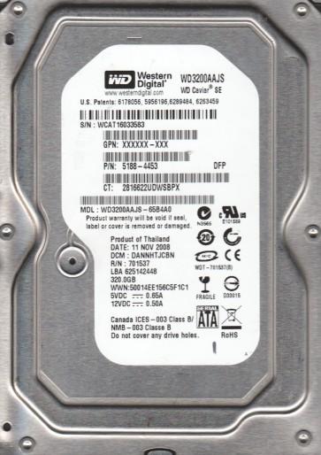 WD3200AAJS-65B4A0, DCM DANNHTJCNB, Western Digital 320GB SATA 3.5 Hard Drive