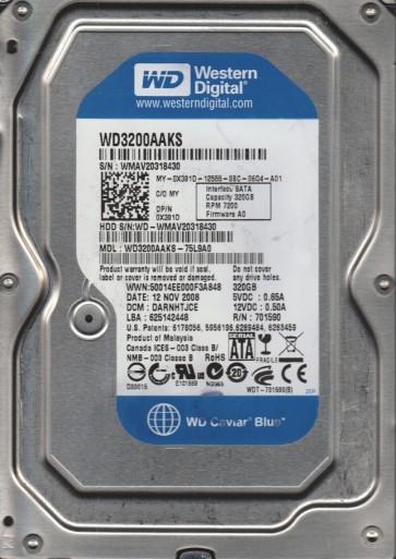 WD3200AAKS-75L9A0, DCM DARNHTJCE, Western Digital 320GB SATA 3.5 Hard Drive