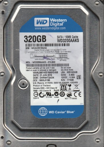 WD3200AAKS-61L9A0, DCM DHRNHT2AGN, Western Digital 320GB SATA 3.5 Hard Drive
