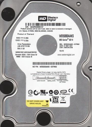 WD5000AAKS-00TMA0, DCM HARCHVJCHB, Western Digital 500GB SATA 3.5 Hard Drive
