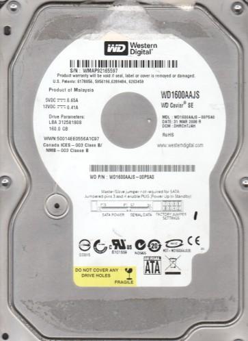 WD1600AAJS-00PSA0, DCM DHRCHTJAH, Western Digital 160GB SATA 3.5 Hard Drive