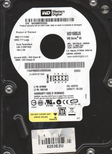 WD1600JS-08MHB0, DCM DSCHCT2AH, Western Digital 160GB SATA 3.5 Hard Drive