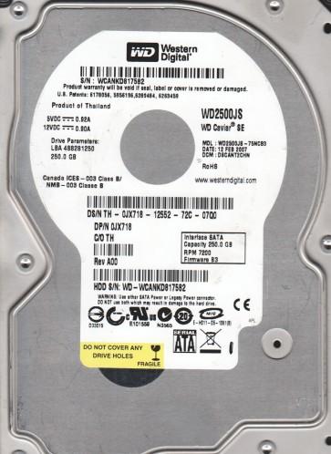 WD2500JS-75NCB3, DCM DSCANT2CHN, Western Digital 250GB SATA 3.5 Hard Drive