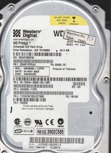 WD400EB-11CPF0, DCM HSCANV2C, Western Digital 40GB IDE 3.5 Hard Drive