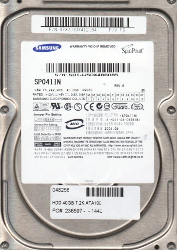 SP0411N, FW PANG0, A, Samsung 40GB IDE 3.5 Hard Drive
