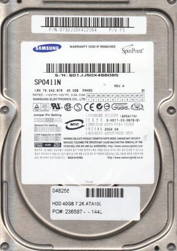 SP0411N, FW PANG0, A, Samsung 40GB IDE 3.5 Hard Drive