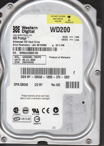 WD200EB-75CPF0, DCM DSCHNV2C, Western Digital 20GB IDE 3.5 Hard Drive