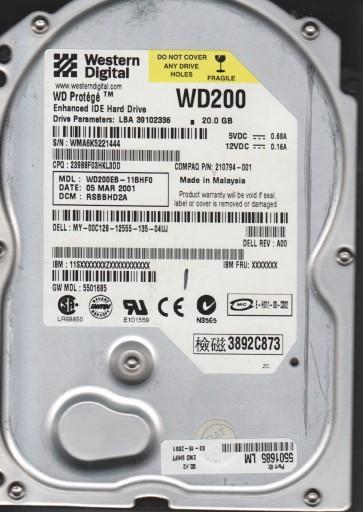 WD200EB-11BHF0, DCM RSBBHD2A, Western Digital 20GB IDE 3.5 Hard Drive