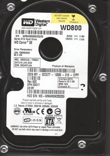 WD800JD-75MSA1, DCM HSCHNTJAH, Western Digital 80GB SATA 3.5 Hard Drive