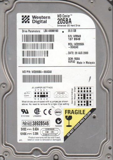 WD205BA-00AGA0, DCM RSBANVFA0, Western Digital 20.5GB IDE 3.5 Hard Drive