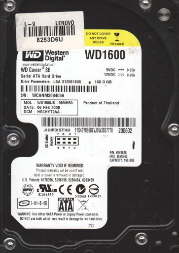 WD1600JS-08MHB0, DCM HSCHYT2AA, Western Digital 160GB SATA 3.5 Hard Drive