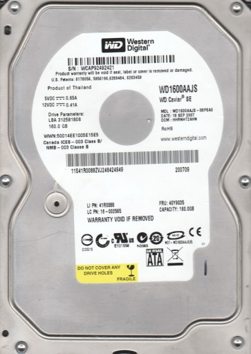 WD1600AAJS-08PSA0, DCM HHRNHT2AHN, Western Digital 160GB SATA 3.5 Hard Drive